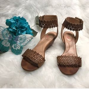 XOXO Flower Wedge Leather Sandals